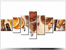 Leinwandbild mit Wanduhr - Moderne Dekoration - Holzrahmen - Hausgemachte Kekse