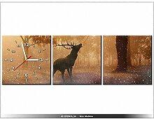 Leinwandbild mit Wanduhr - Moderne Dekoration - Holzrahmen - Hirsch auf rykowisku - 90x30cm