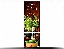 Leinwandbild mit Wanduhr - Moderne Dekoration - Holzrahmen - Kräuter-Gewürze - 30x90cm
