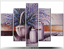 Leinwandbild mit Wanduhr - Moderne Dekoration - Holzrahmen - Lavendel Stillleben - 150x105cm