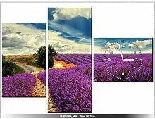 Leinwandbild mit Wanduhr - Moderne Dekoration - Holzrahmen - Lavendel Landschaft - 100x70cm