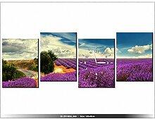 Leinwandbild mit Wanduhr - Moderne Dekoration - Holzrahmen - Lavendel Landschaft - 120x45cm