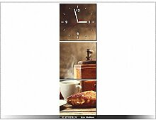 Leinwandbild mit Wanduhr - Moderne Dekoration - Holzrahmen - Leckeres Frühstück - 30x90cm