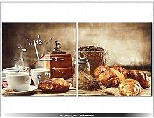 Leinwandbild mit Wanduhr - Moderne Dekoration - Holzrahmen - Leckeres Frühstück - 80x40cm