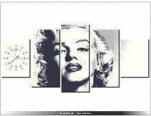 Leinwandbild mit Wanduhr - Moderne Dekoration - Holzrahmen - Marilyn Monroe - 150x70cm