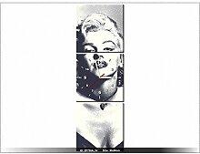 Leinwandbild mit Wanduhr - Moderne Dekoration - Holzrahmen - Marilyn Monroe - 30x90cm