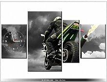 Leinwandbild mit Wanduhr - Moderne Dekoration - Holzrahmen - Monsterbike - 120x70cm