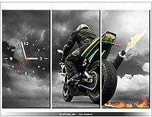 Leinwandbild mit Wanduhr - Moderne Dekoration - Holzrahmen - Monsterbike - 90x60cm