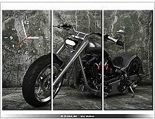 Leinwandbild mit Wanduhr - Moderne Dekoration - Holzrahmen - Motorrad - 90x60cm