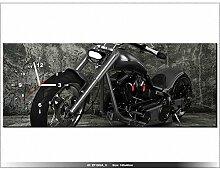 Leinwandbild mit Wanduhr - Moderne Dekoration - Holzrahmen - Motorrad