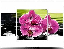 Leinwandbild mit Wanduhr - Moderne Dekoration - Holzrahmen - Orchideen auf Steinen - 80x40cm