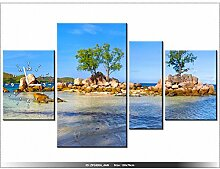 Leinwandbild mit Wanduhr - Moderne Dekoration - Holzrahmen - Praslin Island - 120x70cm