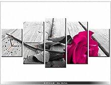 Leinwandbild mit Wanduhr - Moderne Dekoration - Holzrahmen - Rosa Rose