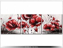 Leinwandbild mit Wanduhr - Moderne Dekoration - Holzrahmen - Roter Mohn - 90x30cm