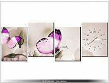 Leinwandbild mit Wanduhr - Moderne Dekoration - Holzrahmen - Schmetterlinge Paradies - 120x45cm
