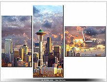 Leinwandbild mit Wanduhr - Moderne Dekoration - Holzrahmen - Seattle bei Sonnenuntergang - 100x70cm