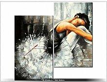 Leinwandbild mit Wanduhr - Moderne Dekoration - Holzrahmen - Sinnlich Ballett - 60x60cm