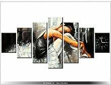 Leinwandbild mit Wanduhr - Moderne Dekoration - Holzrahmen - Sinnlich Ballett - 210x100cm