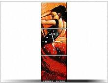 Leinwandbild mit Wanduhr - Moderne Dekoration - Holzrahmen - Spanisches Bolero - 30x90cm