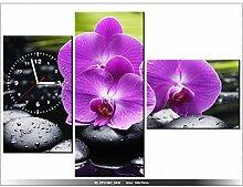 Leinwandbild mit Wanduhr - Moderne Dekoration - Holzrahmen - Steine und Orchidee - 100x70cm