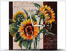 Leinwandbild mit Wanduhr - Moderne Dekoration - Holzrahmen - Sunflowers anders - 40x40cm
