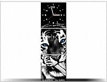 Leinwandbild mit Wanduhr - Moderne Dekoration - Holzrahmen - Tiger - 30x90cm