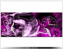 Leinwandbild mit Wanduhr - Moderne Dekoration - Holzrahmen - Variationen mit lila