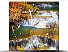 Leinwandbild mit Wanduhr - Moderne Dekoration - Holzrahmen - Wasserfall Huay Mae Khamin - 30x30cm