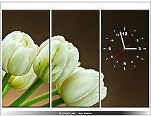Leinwandbild mit Wanduhr - Moderne Dekoration - Holzrahmen - Weiße Tulpen - 90x60cm