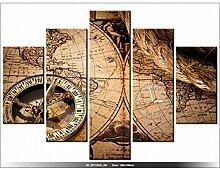 Leinwandbild mit Wanduhr - Moderne Dekoration - Holzrahmen - Weltkarte - 150x105cm