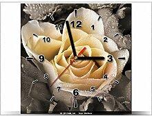 Leinwandbild mit Wanduhr - Moderne Dekoration - Holzrahmen - Zart Rose - 30x30cm
