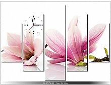 Leinwandbild mit Wanduhr - Rosa Magnolien - Moderne Dekoration - Holzrahmen