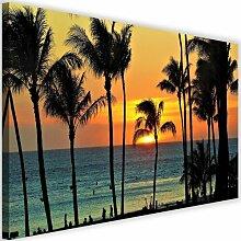 Leinwandbild Palmen bei Sonnenuntergang