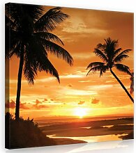 Leinwandbild Palmen Im Sonnenuntergang in