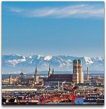 Leinwandbild Panorama von München East Urban Home