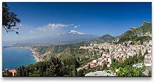 Leinwandbild Panorama von Taormina East Urban Home