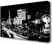 Leinwandbild Paris Straßen Nachtlichter in S/W