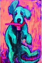 Leinwandbild Pink Funky Frisbee Pup von Michelle