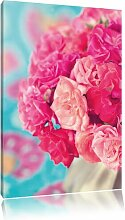 Leinwandbild Pinker Rosenstrauß, Fotodruck