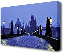 Leinwandbild Prag Blaue Nachtlichter