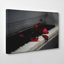 Leinwandbild Red Rose Flower Piano, Fotodruck Big