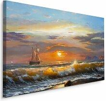 Leinwandbild Schiff im Sonnenuntergang