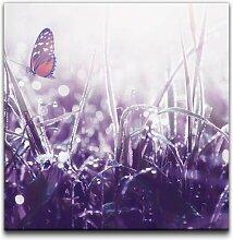 Leinwandbild Schmetterling auf Grashalmen