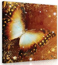 Leinwandbild Schmetterling in Gold/Braun/Beige