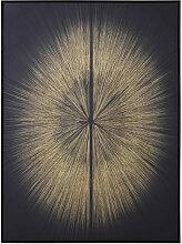 Leinwandbild, schwarz mit goldfarbenem Druckmotiv