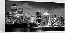 Leinwandbild schwarz weiß Skyline Sidney Kat15