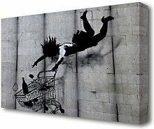 Leinwandbild Shop Till You Drop von Banksy in Grau