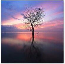 Leinwandbild Sonnenaufgang am Fluss