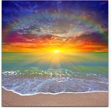 LeinwandbildSonnenaufgang mit Regenbogen