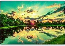 Leinwandbild Sonnenaufgang über dem See